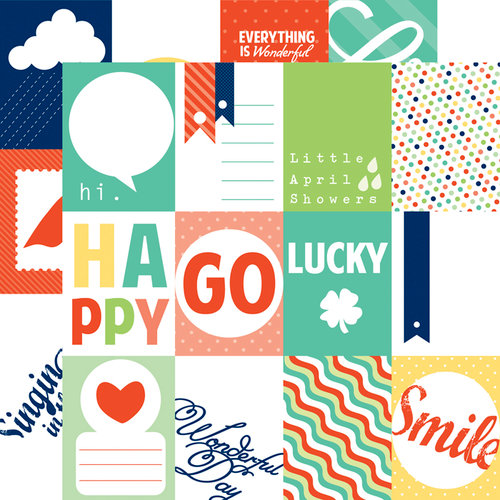 Echo Park - Happy Go Lucky Collection - 12 x 12 Double Sided Paper - Happy