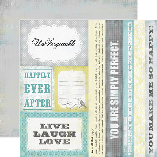 Echo Park - Happy Little Moments Collection - 12 x 12 Double Sided Paper - Happily Ever After