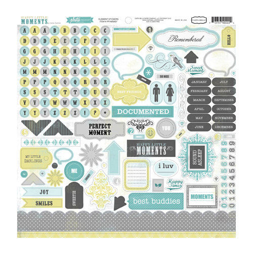 Echo Park - Happy Little Moments Collection - 12 x 12 Cardstock Stickers - Elements