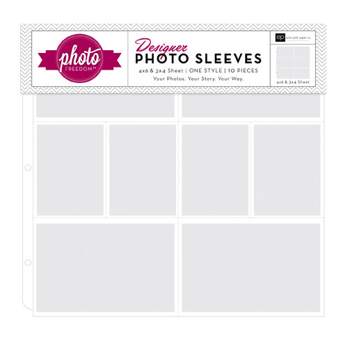 Echo Park - Photo Freedom - 12 x 12 Designer Photo Sleeves - 4 x 6 and 3 x 4 Pockets - 10 Pack