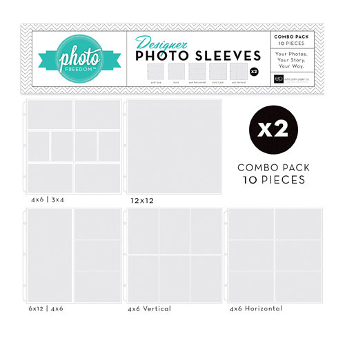 Echo Park - Photo Freedom - 12 x 12 Designer Photo Sleeves - Combo Page Protectors - 10 Pack