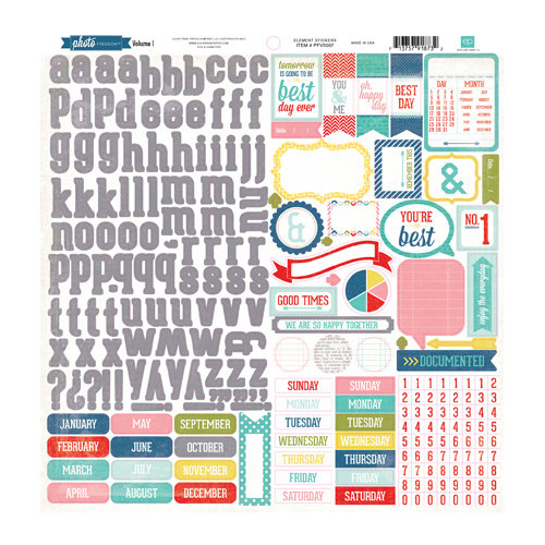 Echo Park - Photo Freedom Volume 1 Collection - 12 x 12 Cardstock Stickers - Elements