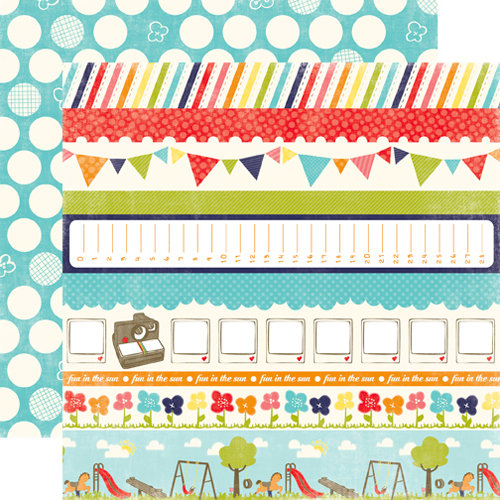 Echo Park - Playground Collection - 12 x 12 Double Sided Paper - Simon Says Border Strips