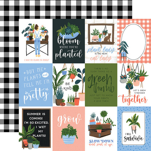 Echo Park - Plant Lady Collection - 12 x 12 Double Sided Paper - 3 x 4 Journaling Cards