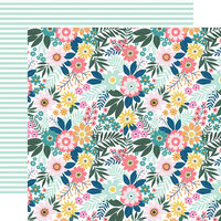 Echo Park - Pool Party Collection - 12 x 12 Double Sided Paper - Paradise Floral