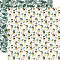 Echo Park - Pool Party Collection - 12 x 12 Double Sided Paper - Pineapple Paradise
