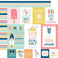 Echo Park - Pool Party Collection - 12 x 12 Double Sided Paper - Multi Journaling Cards