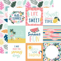 Echo Park - Pool Party Collection - 12 x 12 Double Sided Paper - 4 x 4 Journaling Cards