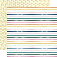 Echo Park - Pool Party Collection - 12 x 12 Double Sided Paper - Summer Stripes