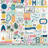 Echo Park - Pool Party Collection - 12 x 12 Cardstock Stickers - Elements