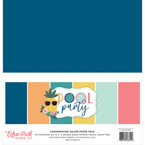 Echo Park - Pool Party Collection - 12 x 12 Paper Pack - Solids