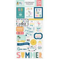Echo Park - Pool Party Collection - Chipboard Stickers - Phrases