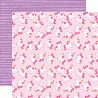 Echo Park - Perfect Princess Collection - 12 x 12 Double Sided Paper - Magical Unicorn