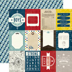 Echo Park - Petticoats and Pinstripes Collection - Boy - 12 x 12 Double Sided Paper - 3 x 4 Journaling Cards