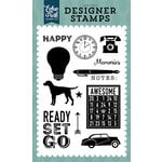 Echo Park - Petticoats and Pinstripes Collection - Boy - Clear Acrylic Stamps - Ready Set Go