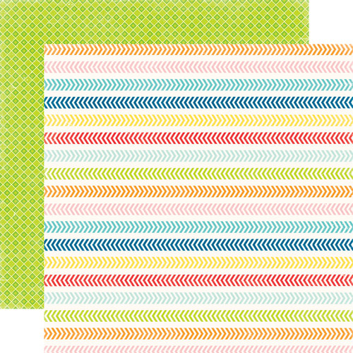 Echo Park - A Perfect Summer Collection - 12 x 12 Double Sided Paper - Chevron Lines
