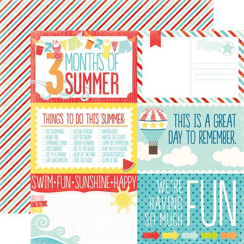 Echo Park - A Perfect Summer Collection - 12 x 12 Double Sided Paper - 4 x 6 Journaling Cards