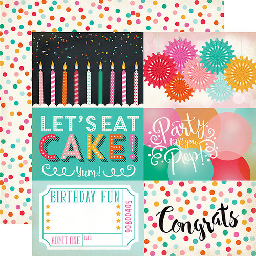 Echo Park - Party Time Collection - 12 x 12 Double Sided Paper - 4 x 6 Journaling Cards