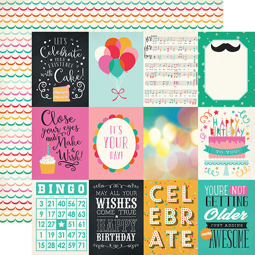 Echo Park - Party Time Collection - 12 x 12 Double Sided Paper - 3 x 4 Journaling Cards