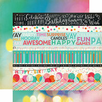 Echo Park - Party Time Collection - 12 x 12 Double Sided Paper - Border Strips