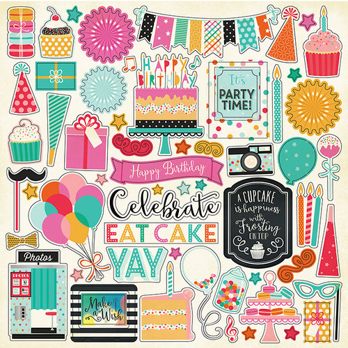 Echo Park - Party Time Collection - 12 x 12 Cardstock Stickers - Elements
