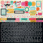 Echo Park - Party Time Collection - 12 x 12 Cardstock Stickers - Alphabet