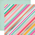 Echo Park - Party Time Collection - 12 x 12 Double Sided Paper with Foil Accents - Diagonal Stripe
