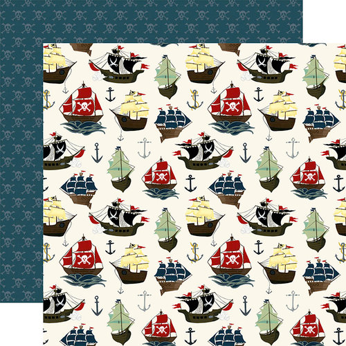 Echo Park - Pirate Tales Collection - 12 x 12 Double Sided Paper - Pirate Ships