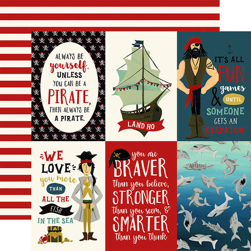 Echo Park - Pirate Tales Collection - 12 x 12 Double Sided Paper - 4 x 6 Journaling Cards