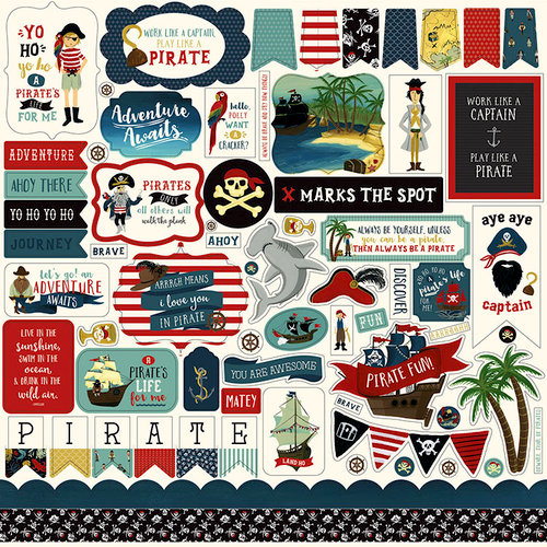 Echo Park - Pirate Tales Collection - 12 x 12 Cardstock Stickers - Elements