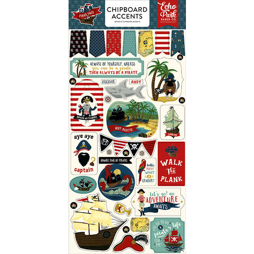 Echo Park - Pirate Tales Collection - Chipboard Stickers - Accents