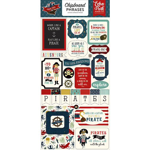 Echo Park - Pirate Tales Collection - Chipboard Stickers - Phrases