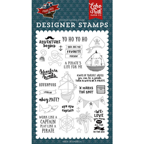 Echo Park - Pirate Tales Collection - Clear Photopolymer Stamps - Land Ho