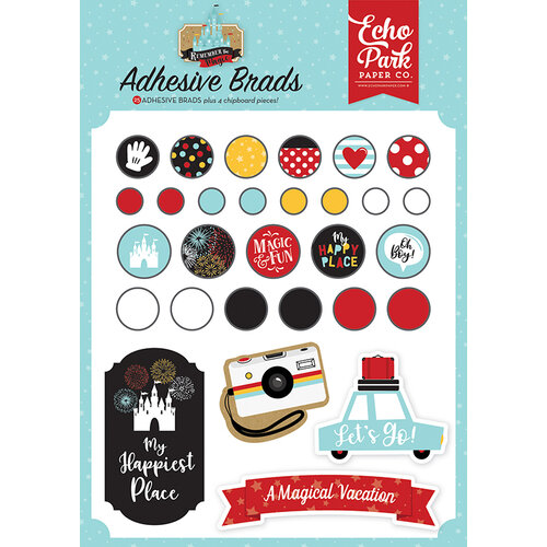 Echo Park - Remember The Magic Collection - Self Adhesive Decorative Brads