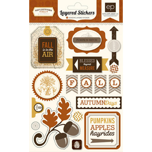 Echo Park - Reflections Collection - Fall - Layered Cardstock Stickers