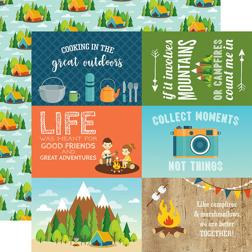 Echo Park - Summer Adventure Collection - 12 x 12 Double Sided Paper - 4 x 6 Journaling Cards
