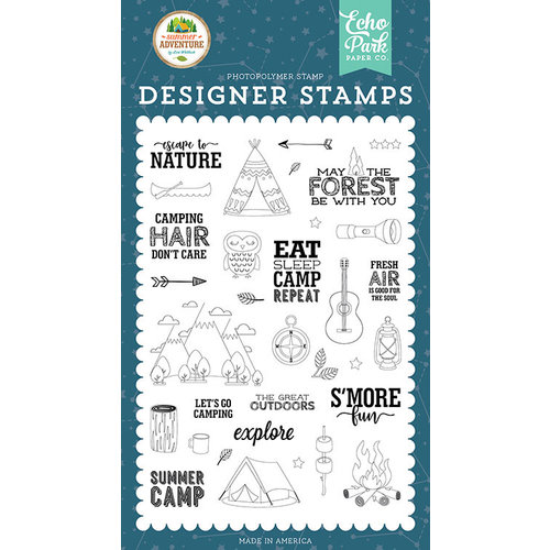 Echo Park - Summer Adventure Collection - Clear Photopolymer Stamps - Escape to Nature
