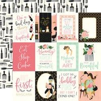 Echo Park - Salon Collection - 12 x 12 Double Sided Paper - 3 x 4 Journaling Cards
