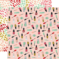 Echo Park - Salon Collection - 12 x 12 Double Sided Paper - Nail Polish