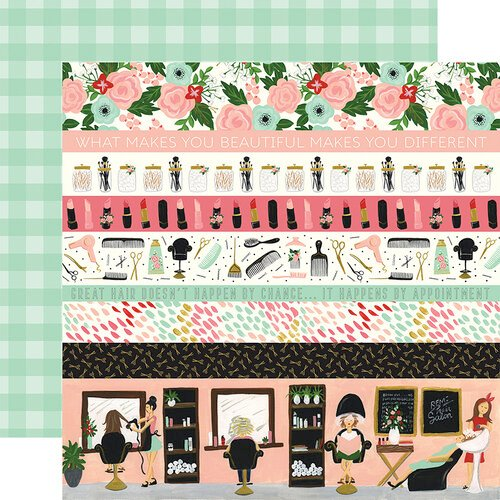 Echo Park - Salon Collection - 12 x 12 Double Sided Paper - Border Strips