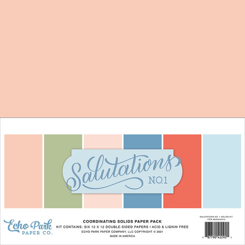 Echo Park - Salutations No. 1 Collection - 12 x 12 Paper Pack - Solids
