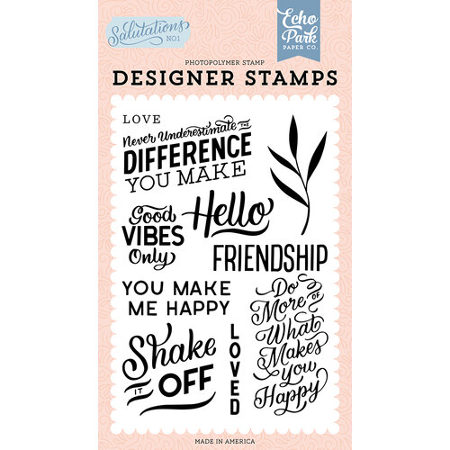 Echo Park - Salutations No. 1 Collection - Clear Photopolymer Stamps - You Make Me Happy