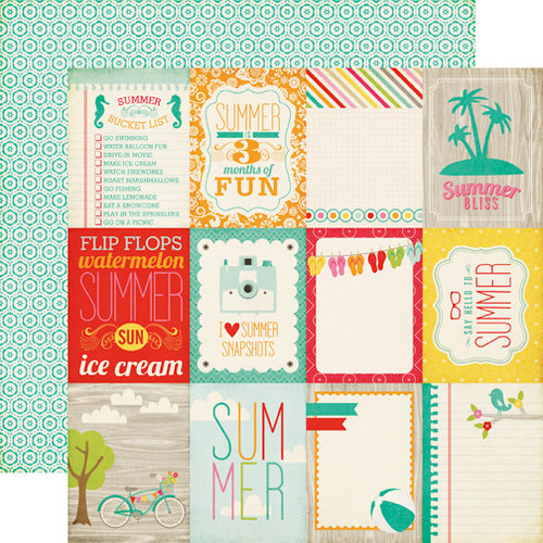 Echo Park - Summer Bliss Collection - 12 x 12 Double Sided Paper - Say Hello