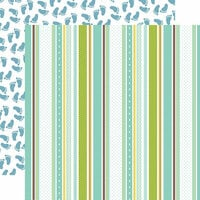 Echo Park - Sweet Baby Boy Collection - 12 x 12 Double Sided Paper - Baby Boy Ribbons