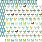 Echo Park - Sweet Baby Boy Collection - 12 x 12 Double Sided Paper - Baby Strollers