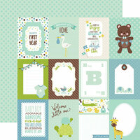 Echo Park - Sweet Baby Boy Collection - 12 x 12 Double Sided Paper - 3 x 4 Journaling Cards
