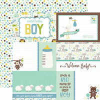 Echo Park - Sweet Baby Boy Collection - 12 x 12 Double Sided Paper - Journaling Cards