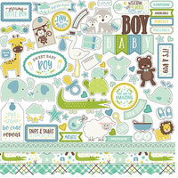 Echo Park - Sweet Baby Boy Collection - 12 x 12 Cardstock Stickers - Elements