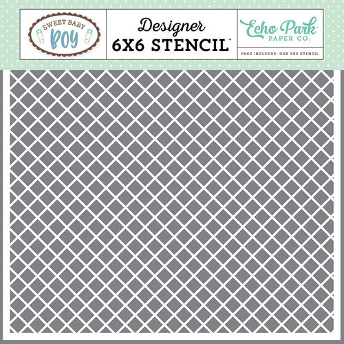 Echo Park - Sweet Baby Boy Collection - 6 x 6 Stencil - Simple Plaid