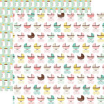 Echo Park - Sweet Baby Girl Collection - 12 x 12 Double Sided Paper - Baby Buggy